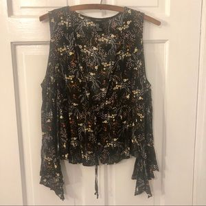 Forever 21 Navy floral long sleeve top